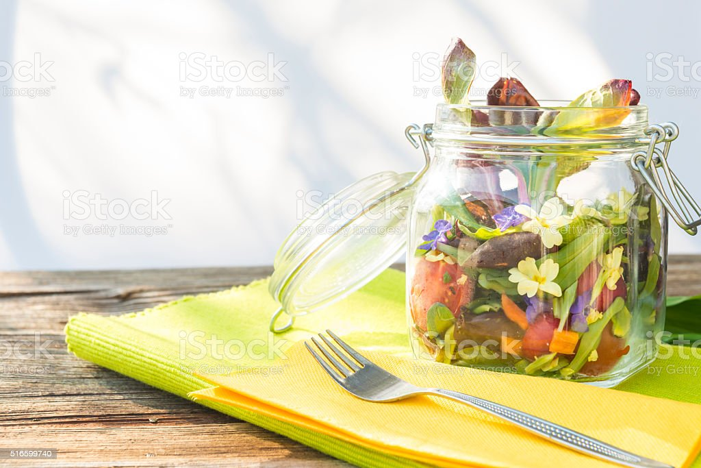 Spring salad in glass stock photo