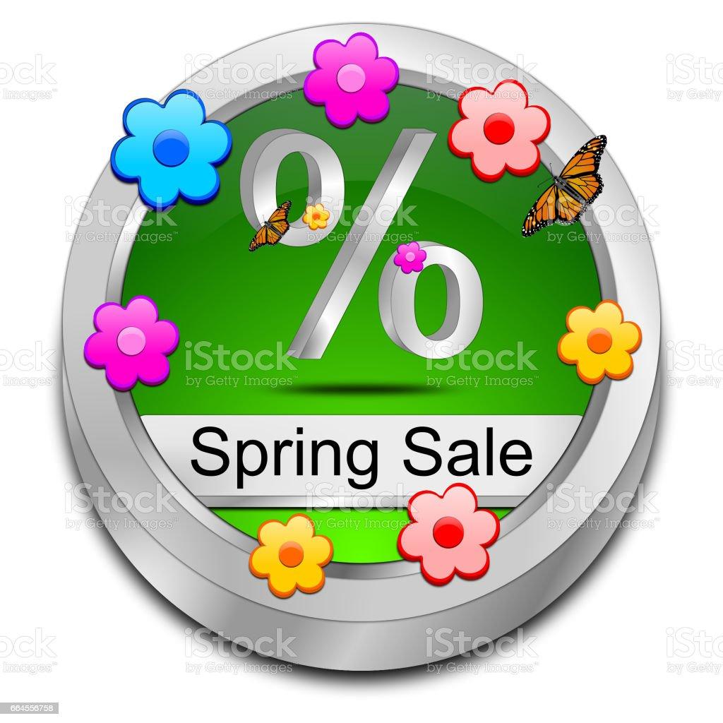 Spring Sale Button - 3D illustration stock photo