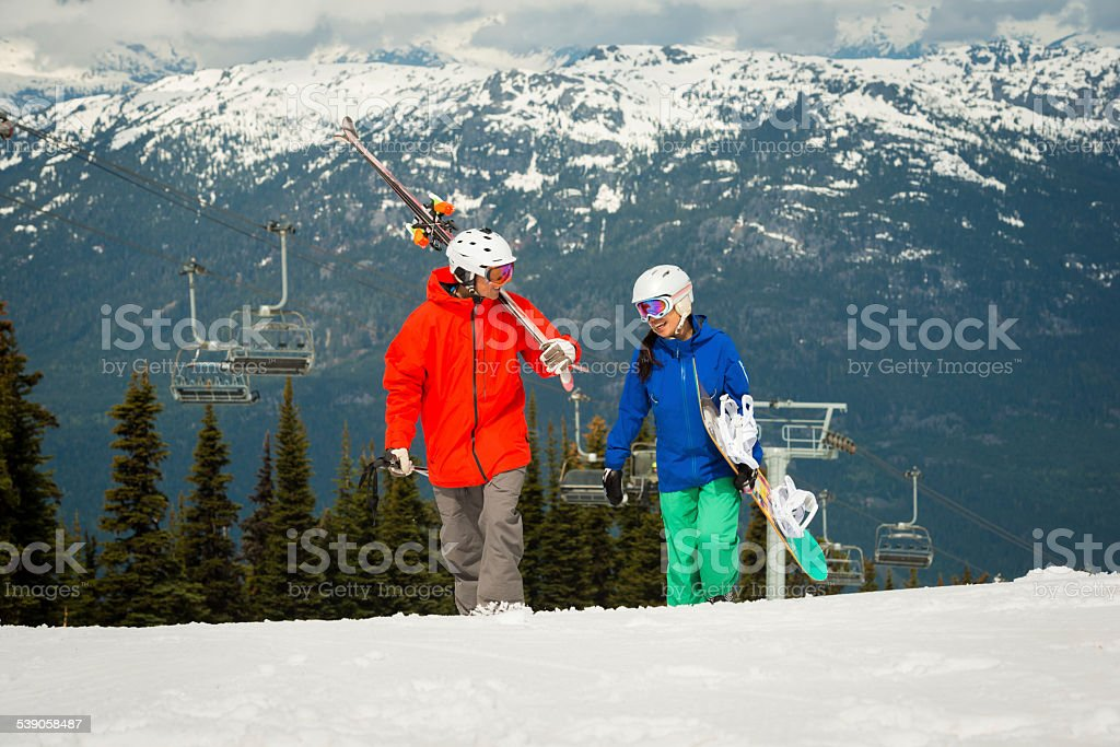 Spring Skiing and Snowboarding stock photo