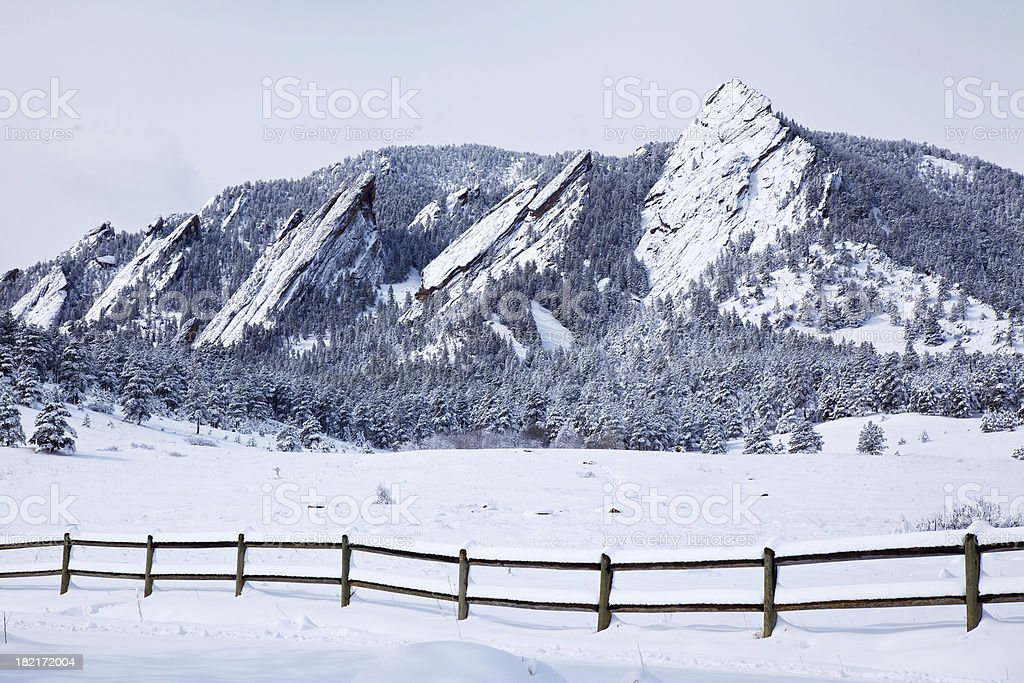 Spring Snow on Flatirons stock photo