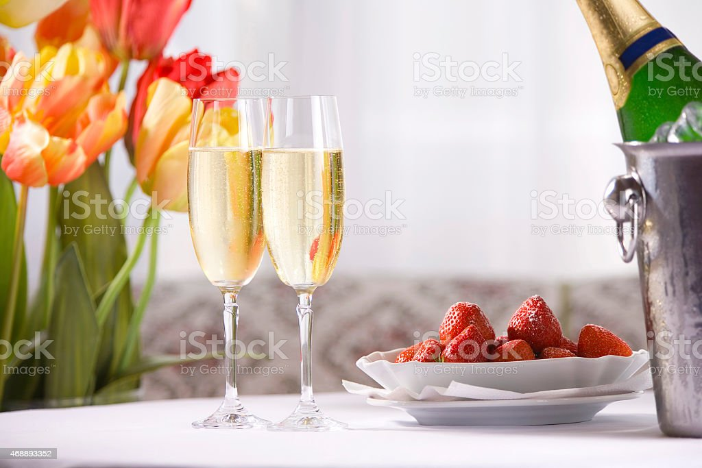 Spring still life with champagne stock photo
