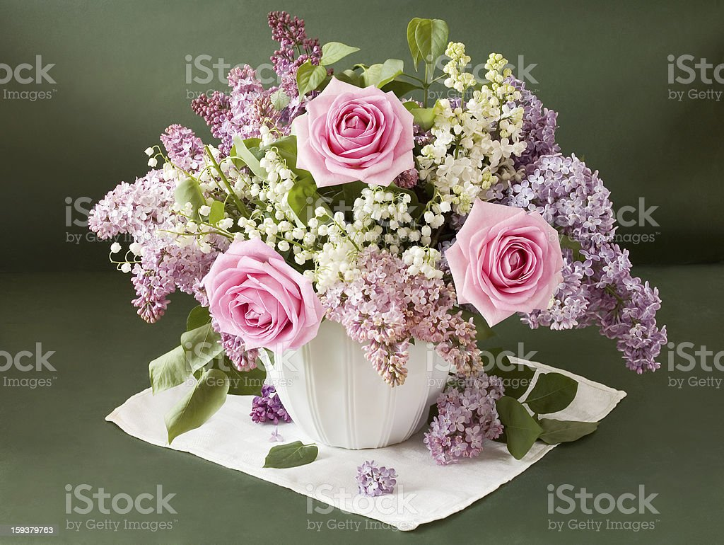 Spring still life with flowers bunch stock photo