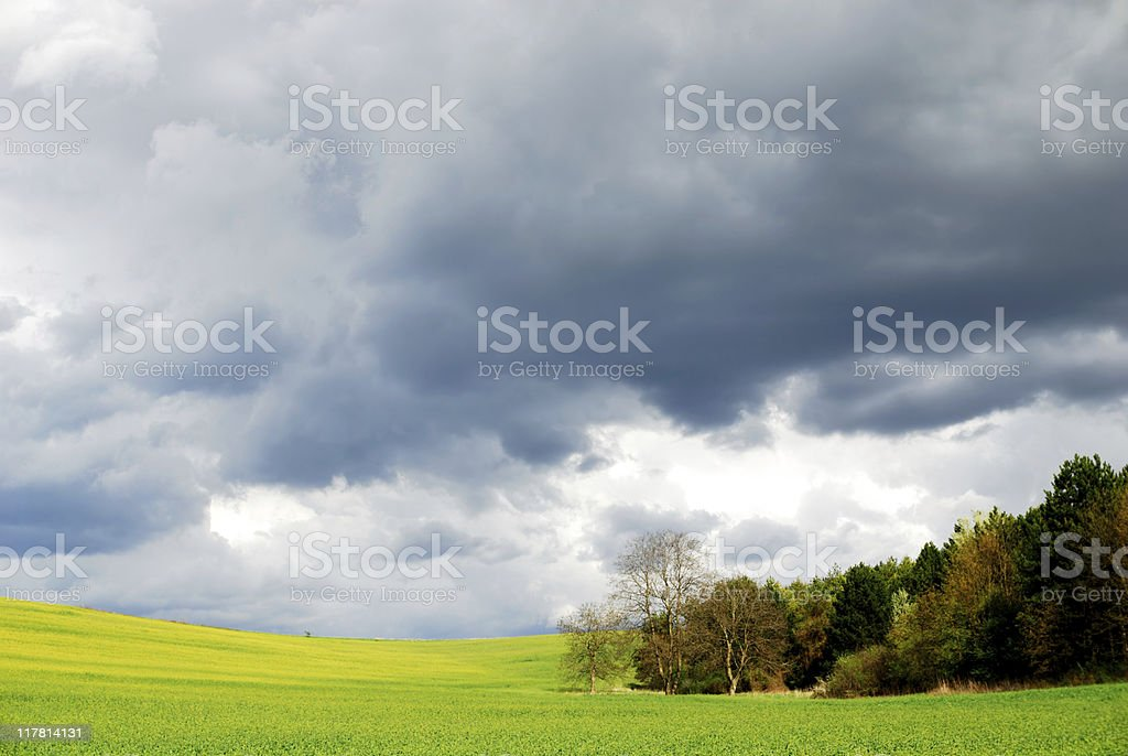 Spring storm and green field royalty-free stock photo