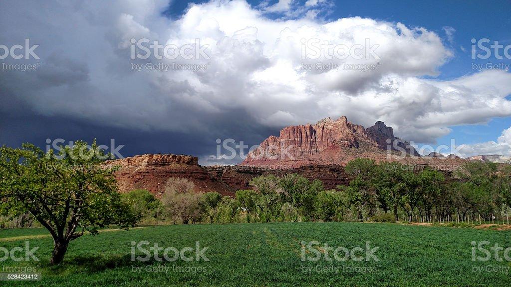 Spring storm clouds Zion National Park Virgin River Rockville Utah stock photo