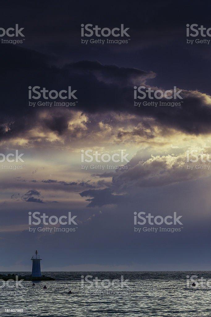 Spring storm coastal sunset royalty-free stock photo