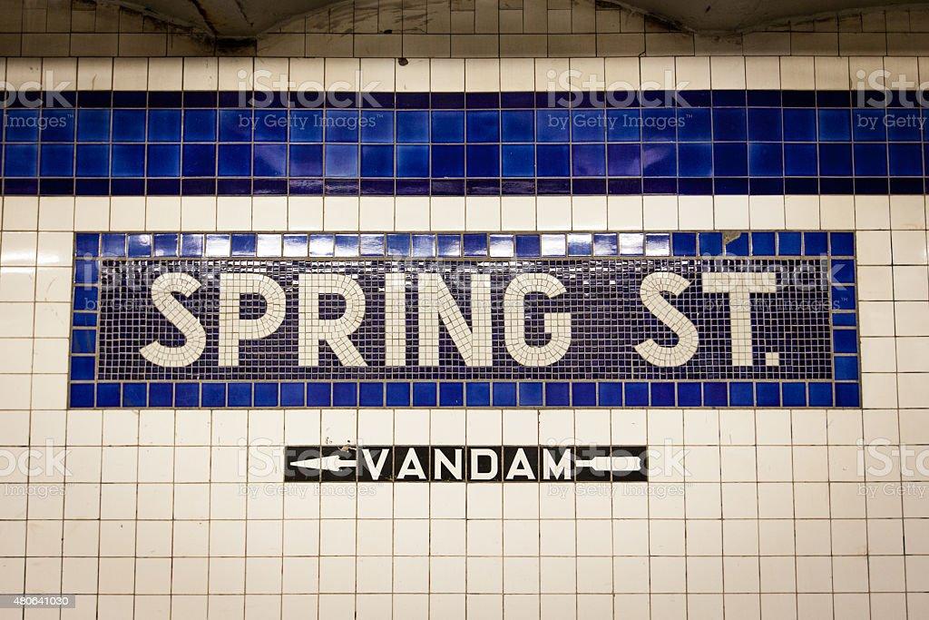 Spring Street Subway Mosaic stock photo