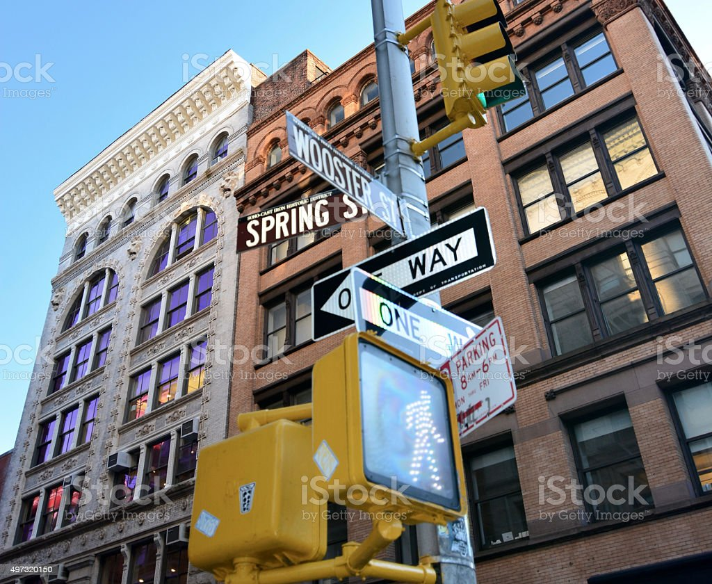 Spring streets and wooster street sign Soho Manhattan New York stock photo
