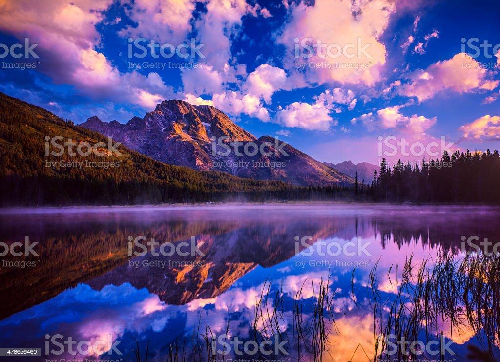 Spring sunrise in Grand Teton National Park, WY stock photo