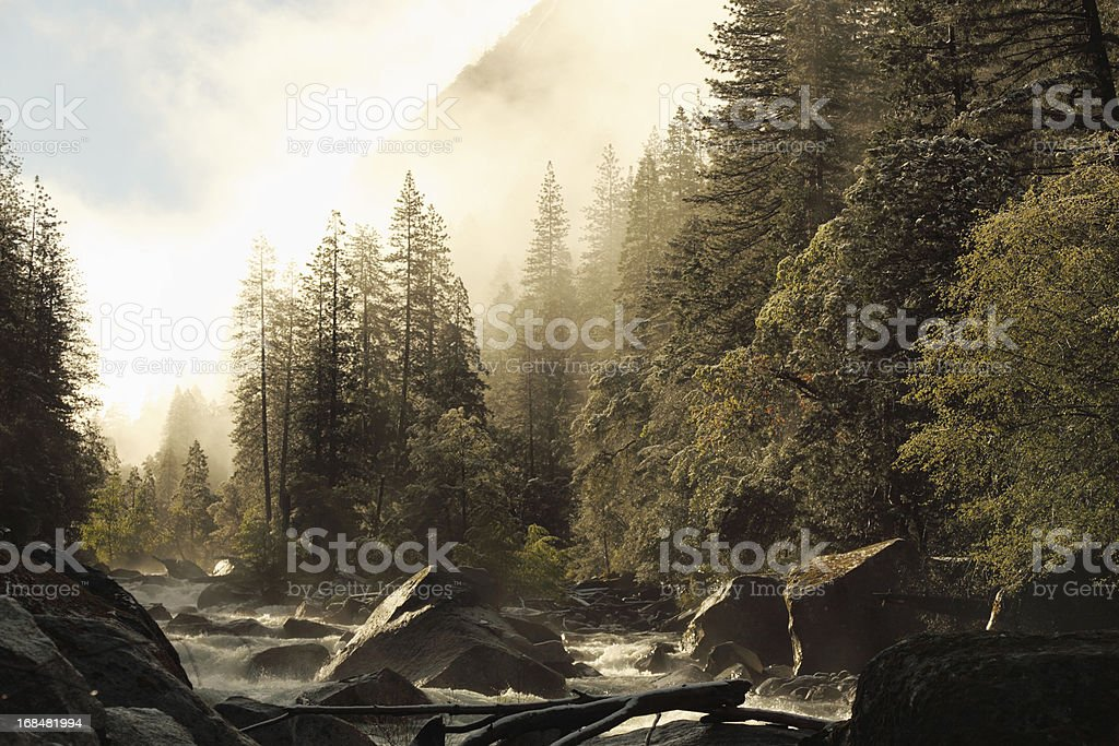 spring sunrise view of Merced river at Yosemite National Park stock photo