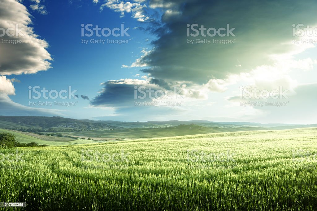 spring sunset in Tuscany, Italy stock photo