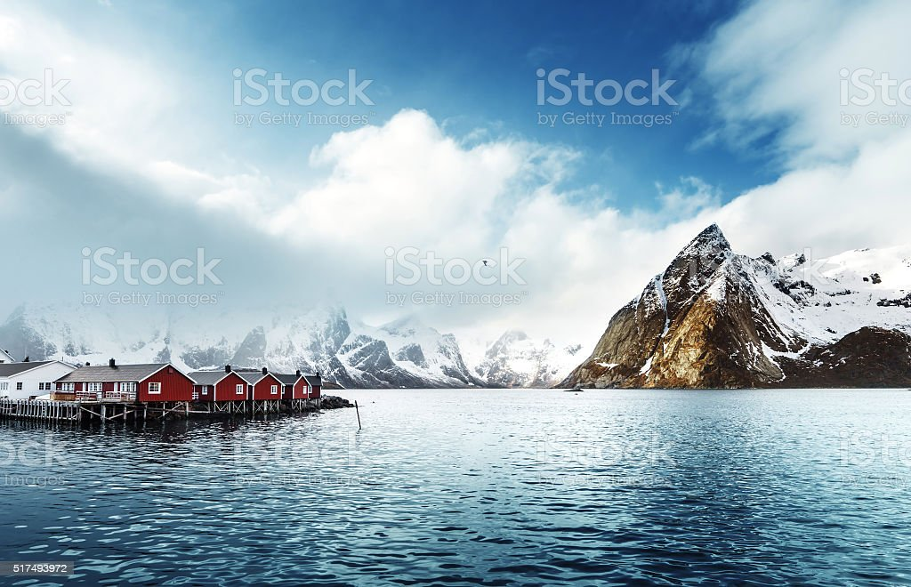 spring sunset - Reine, Lofoten islands, Norway stock photo