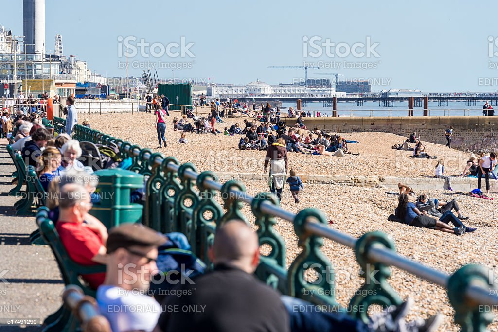 Spring sunshine brings people to Brighton & Hove beaches stock photo