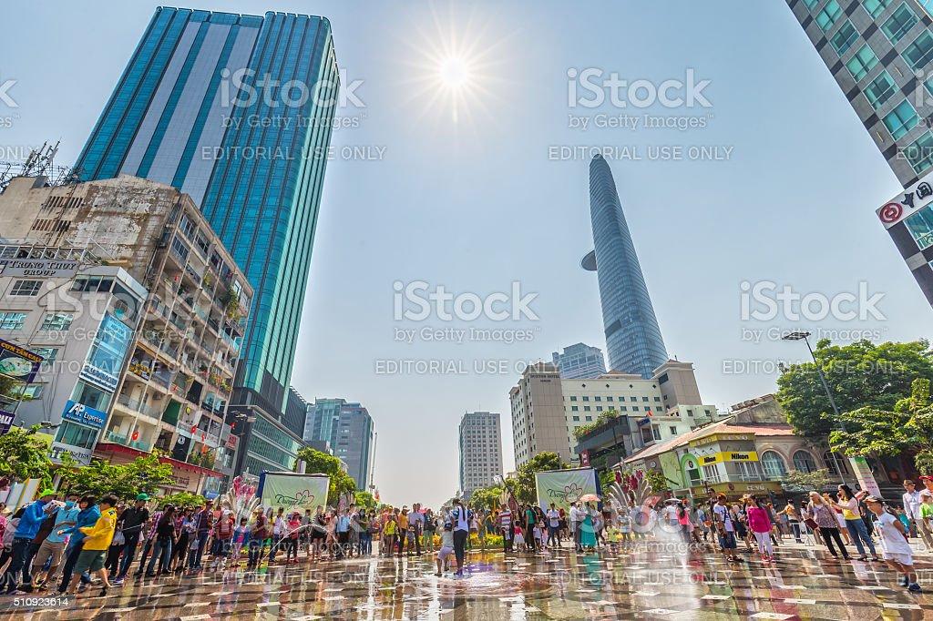 Spring sunshine on the pedestrian street of Saigon stock photo