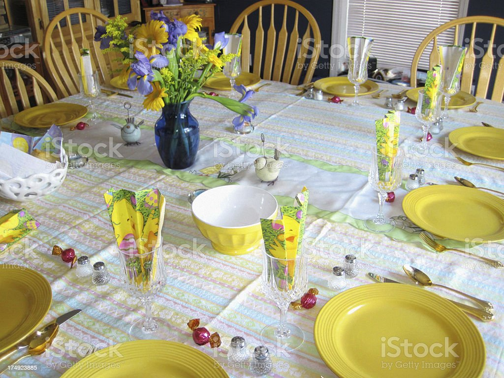 Spring Table Setting - Easter Decorations royalty-free stock photo