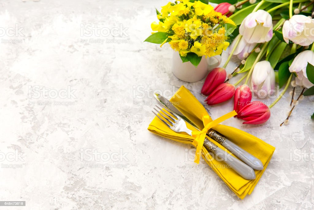 Spring table settings stock photo