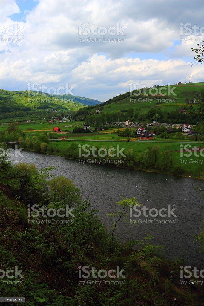 Spring. The Dunajec River. Jazowsko, Polnad. stock photo
