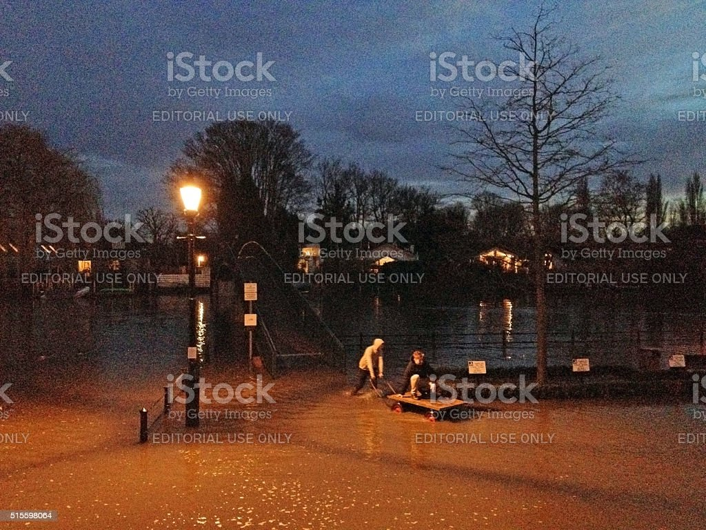 Spring tide flood of River Thames in Twickenham stock photo
