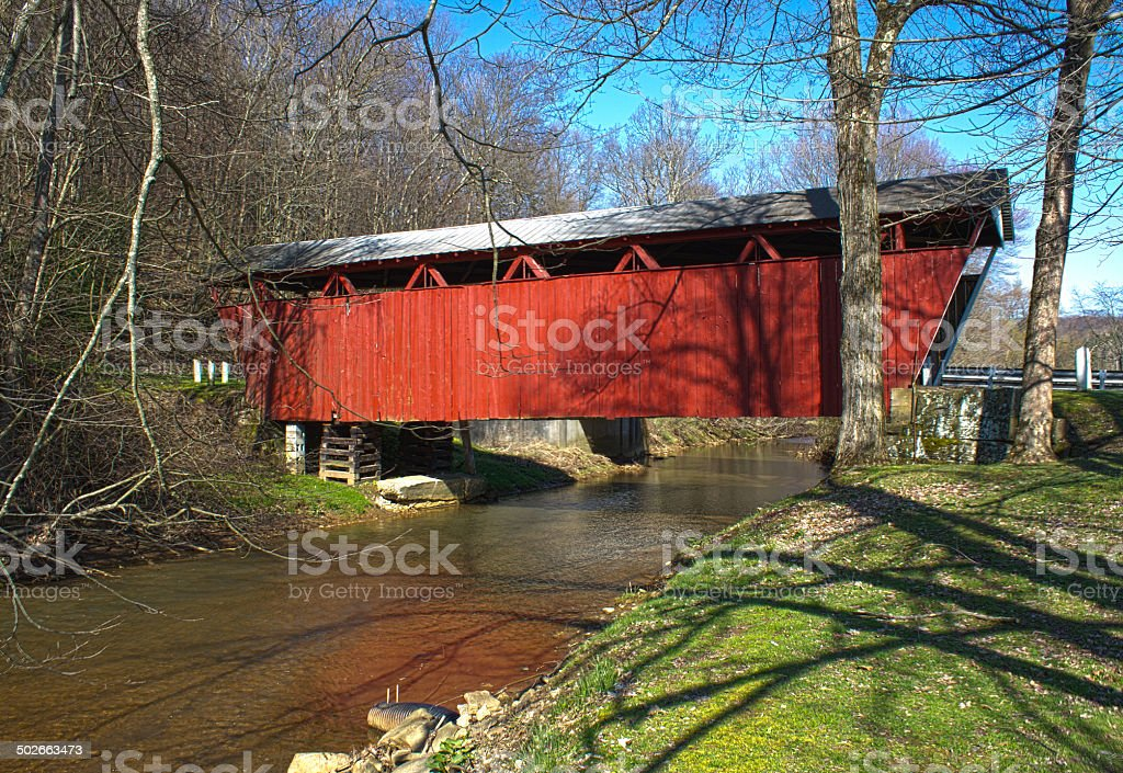 Spring Time at the Kintersburg Covered Bridge stock photo
