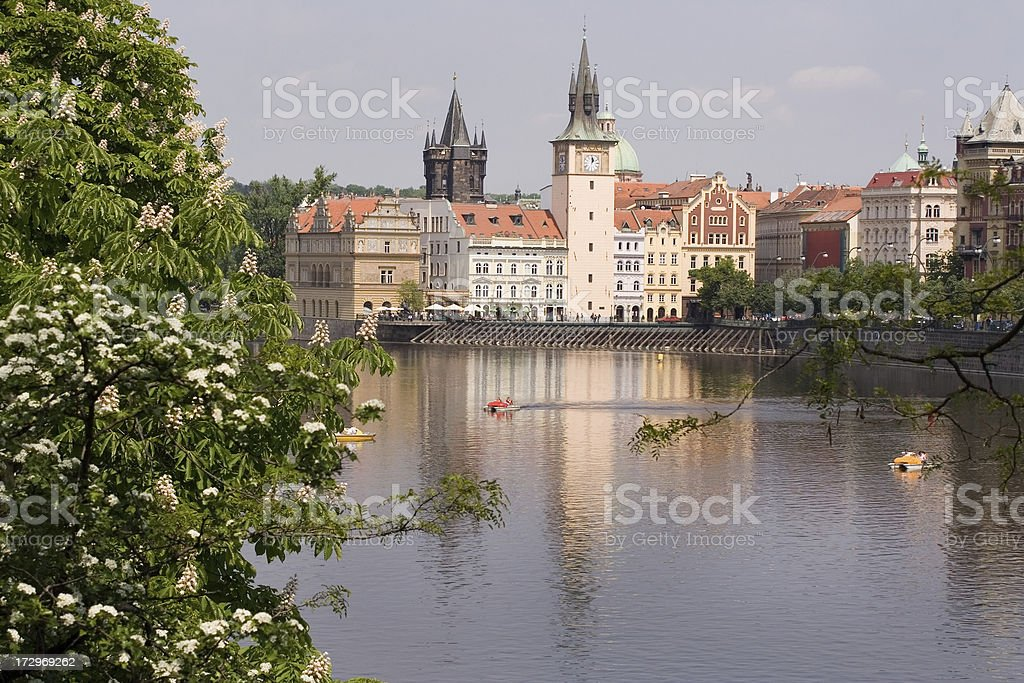 Spring time in Prague - view at Vltava river royalty-free stock photo