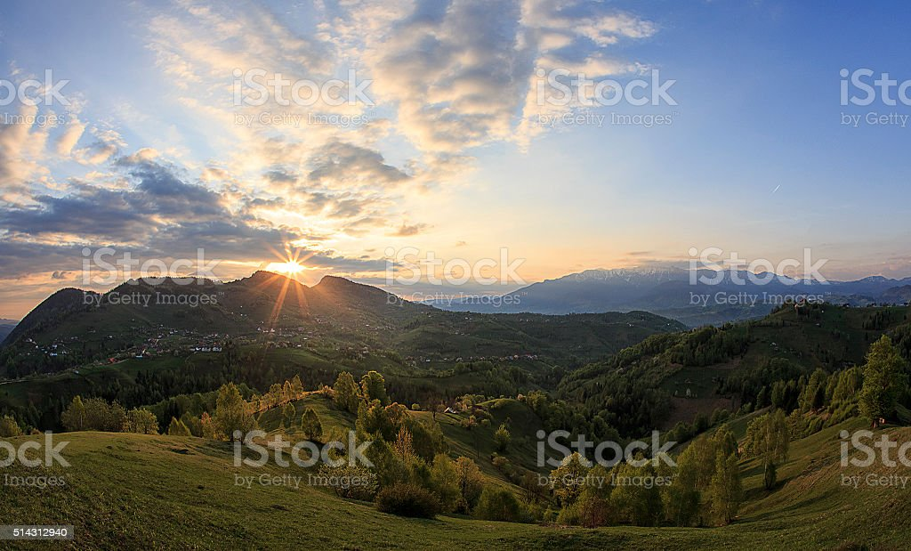 spring time on mountain hills. Pestera village. Brasov. Romania stock photo