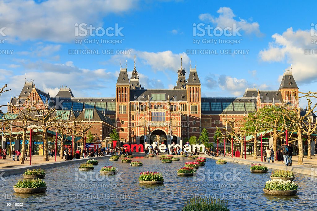 Spring tourism Amsterdam stock photo