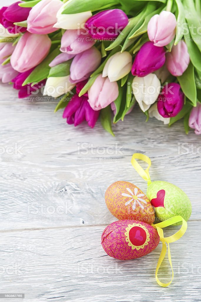 Spring tulips and Easter eggs royalty-free stock photo