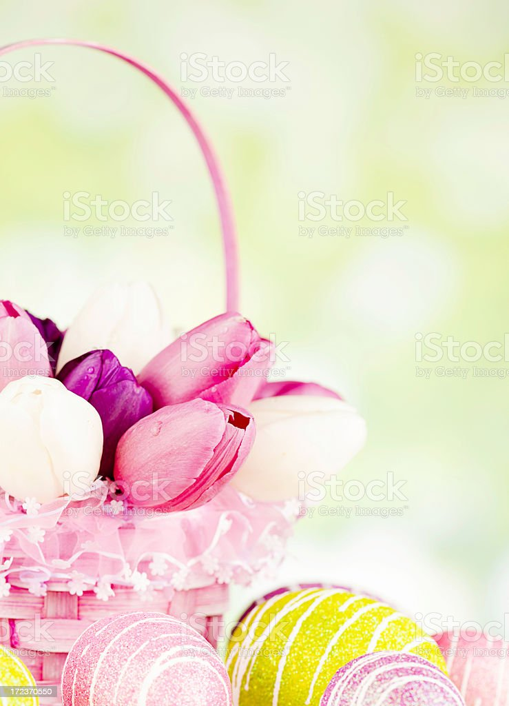 Spring Tulips in Easter Basket with Eggs royalty-free stock photo