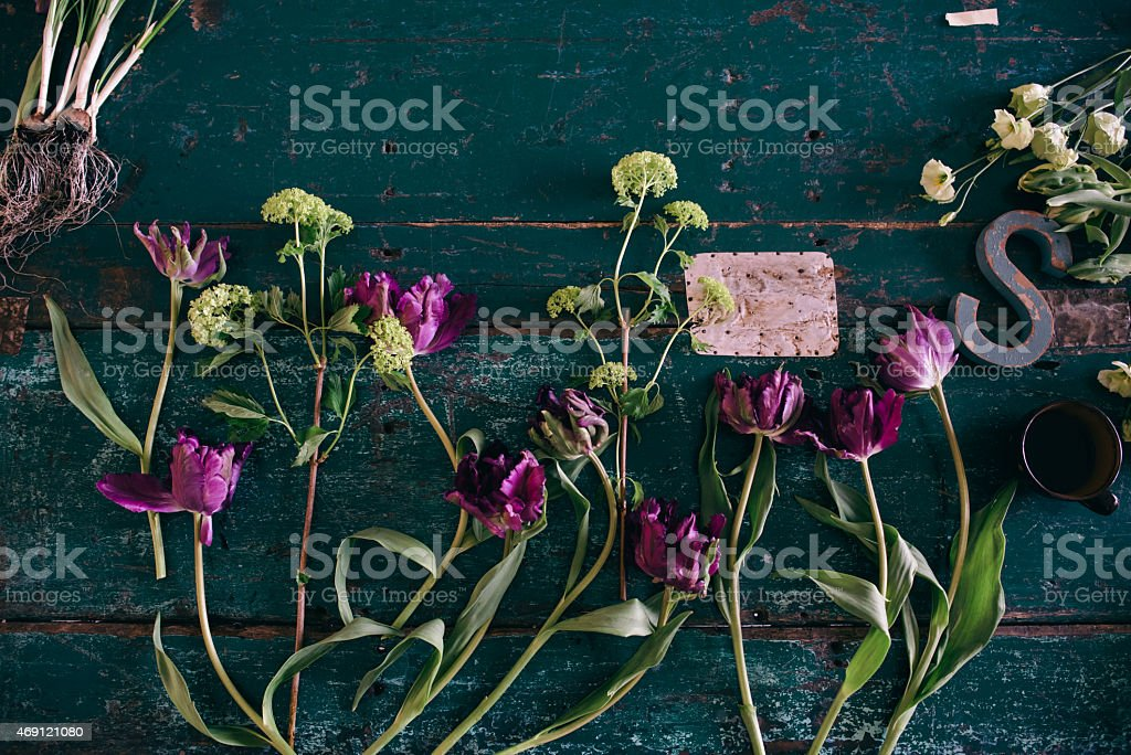 Spring tulips on a table stock photo
