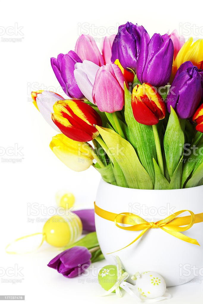spring tulips with easter eggs royalty-free stock photo