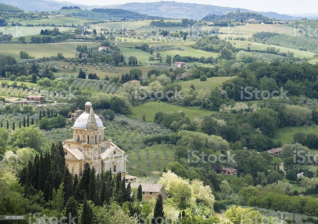 Spring Tuscan Landscape around Montepulciano with Madonna di San Biagio stock photo