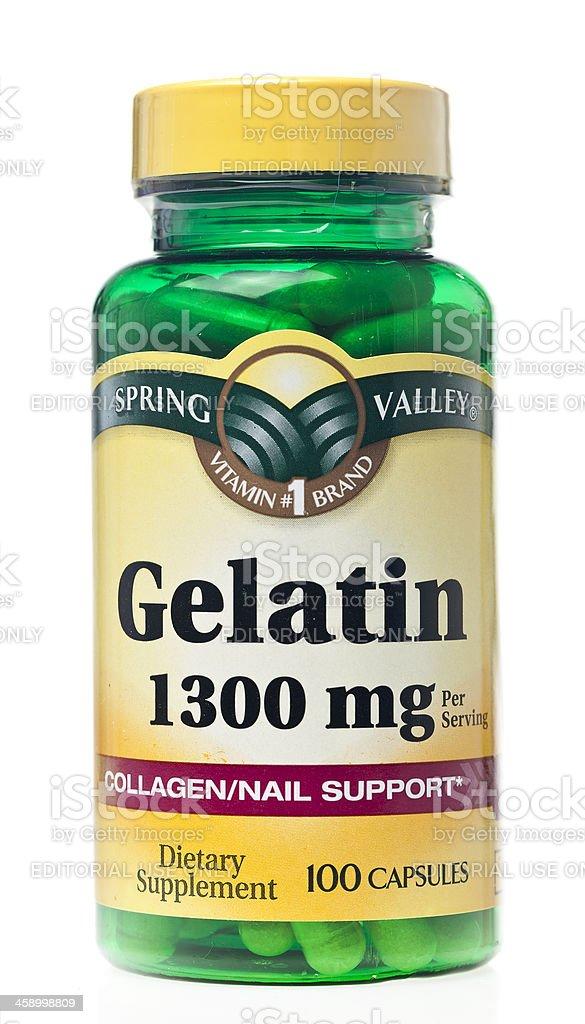 Spring Valley Brand Gelatin On A White Background. stock photo
