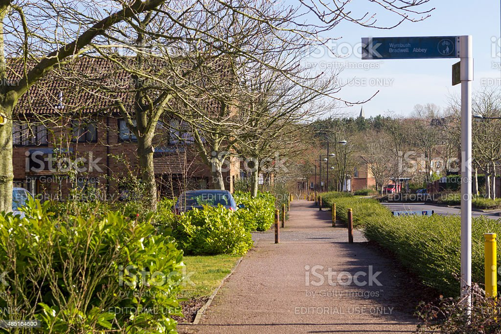 Spring view at Two Mile Ash area in Milton Keynes stock photo