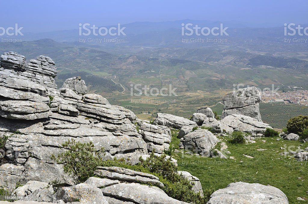 Spring view of El Torcal nature reserve stock photo