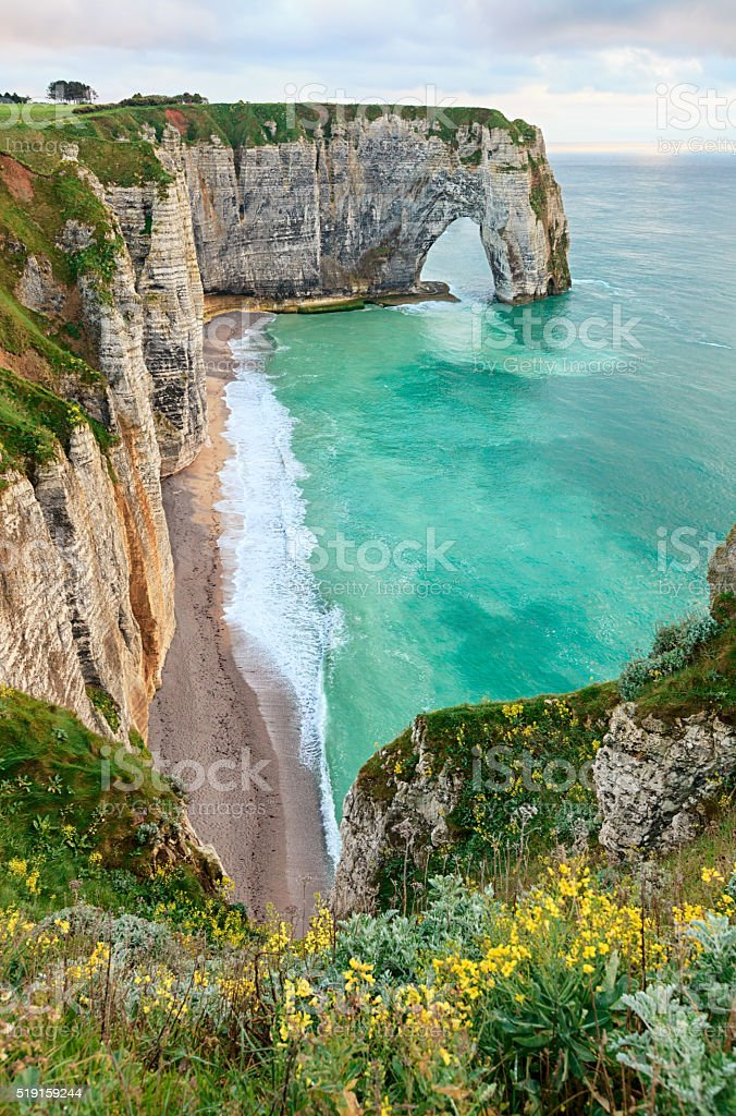 Spring view of Manneporte rock, Etretat, France stock photo