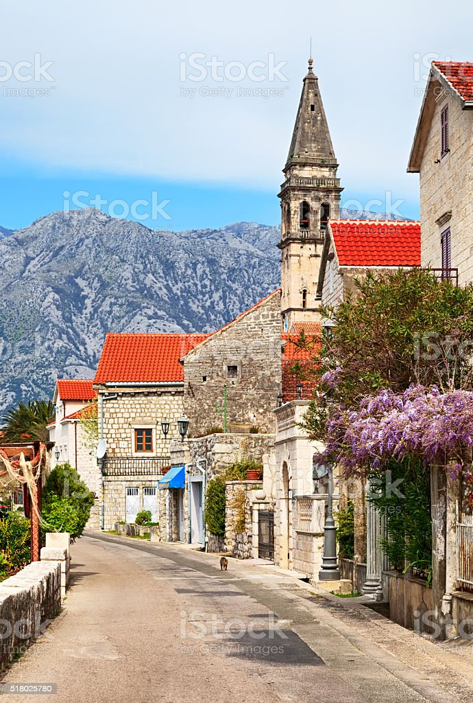 Spring view of Perast, small town in Kotor Bay, Montenegro stock photo