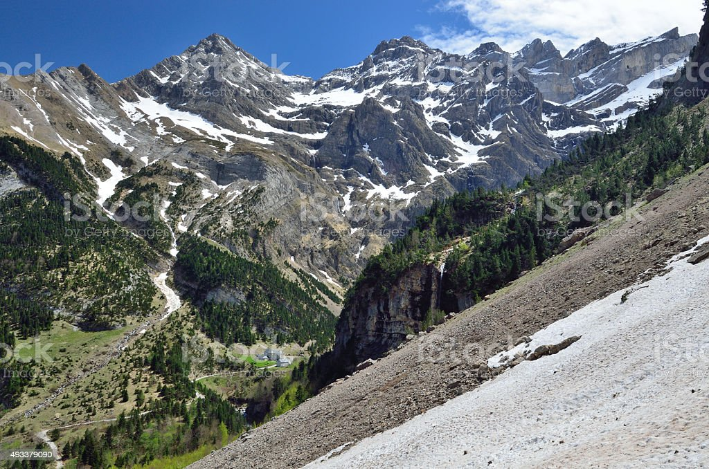 Spring view of the cirque of Gavarnie stock photo