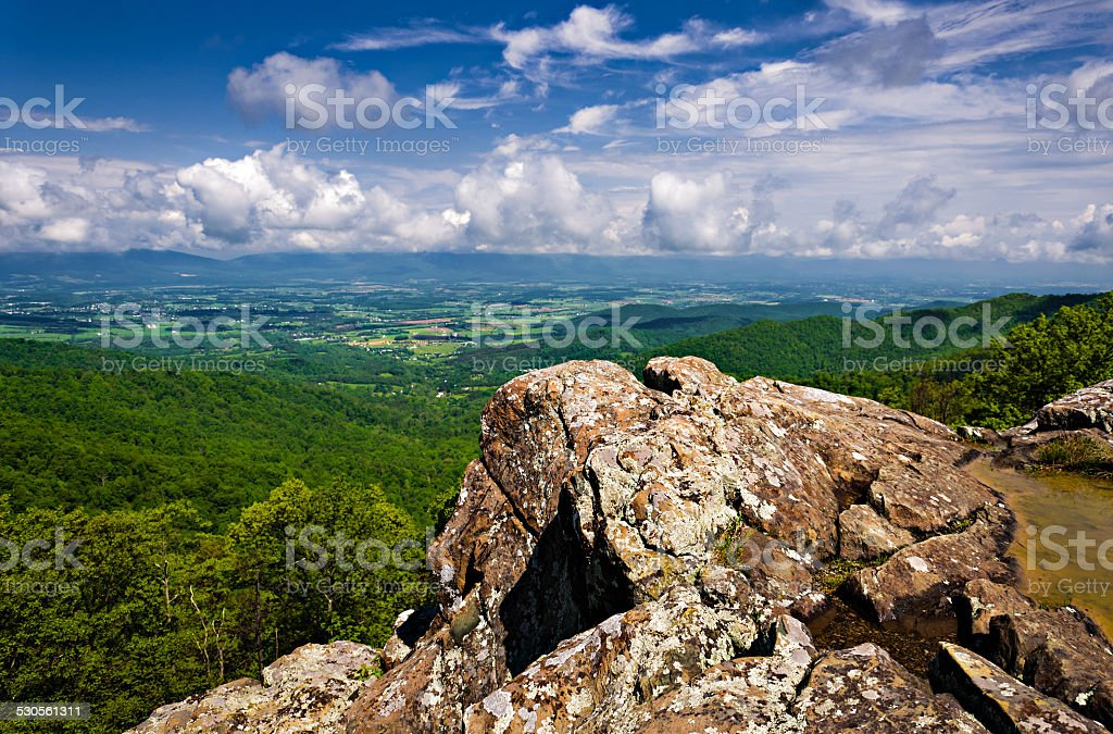 Spring view of the Shenandoah Valley from Franklin Cliffs Overlo stock photo
