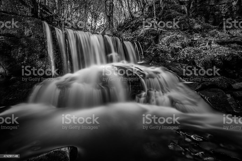 Spring Waterfall In A Remote Peaceful Forest. stock photo
