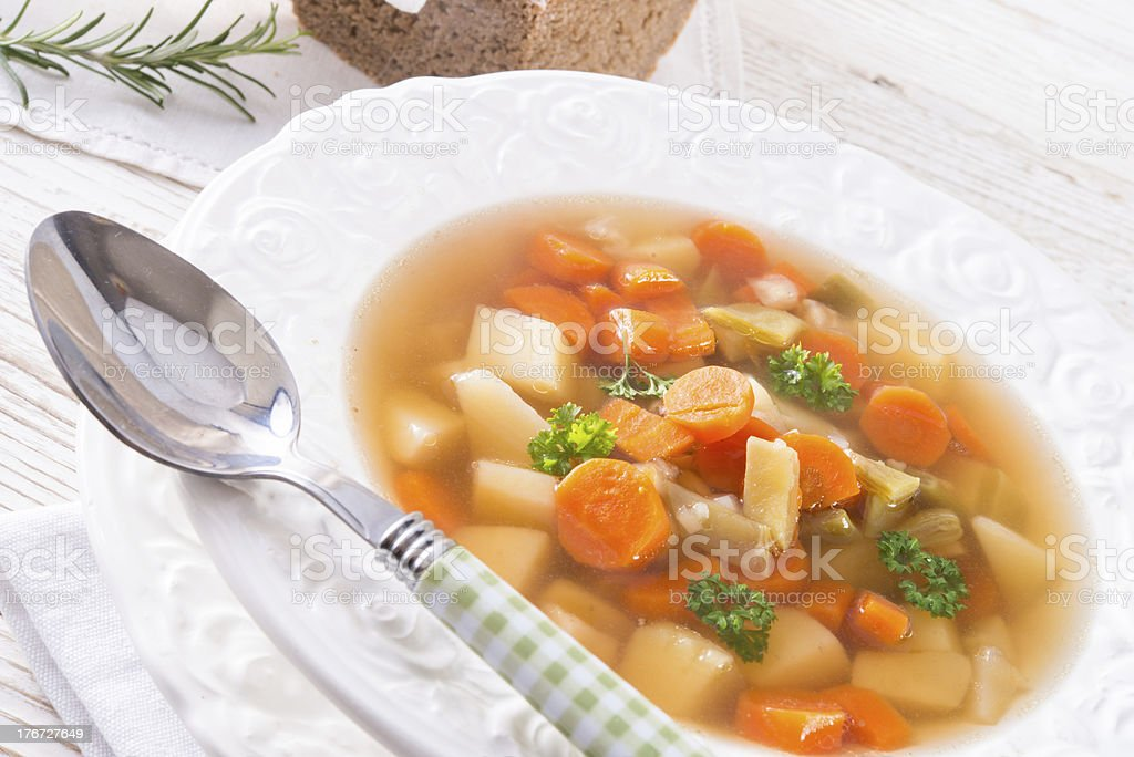 Spring with carrot soup royalty-free stock photo