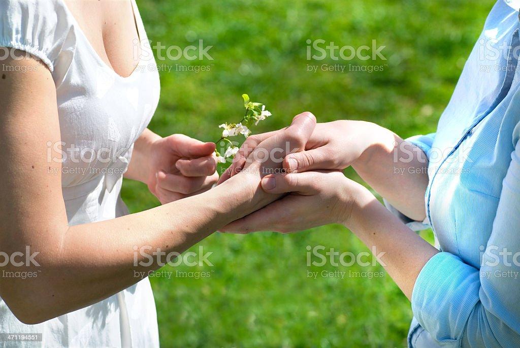 spring woman handshake royalty-free stock photo