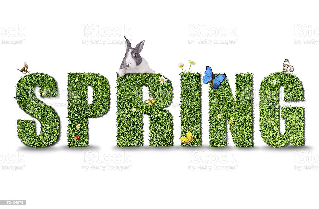 Spring word concept on white background stock photo