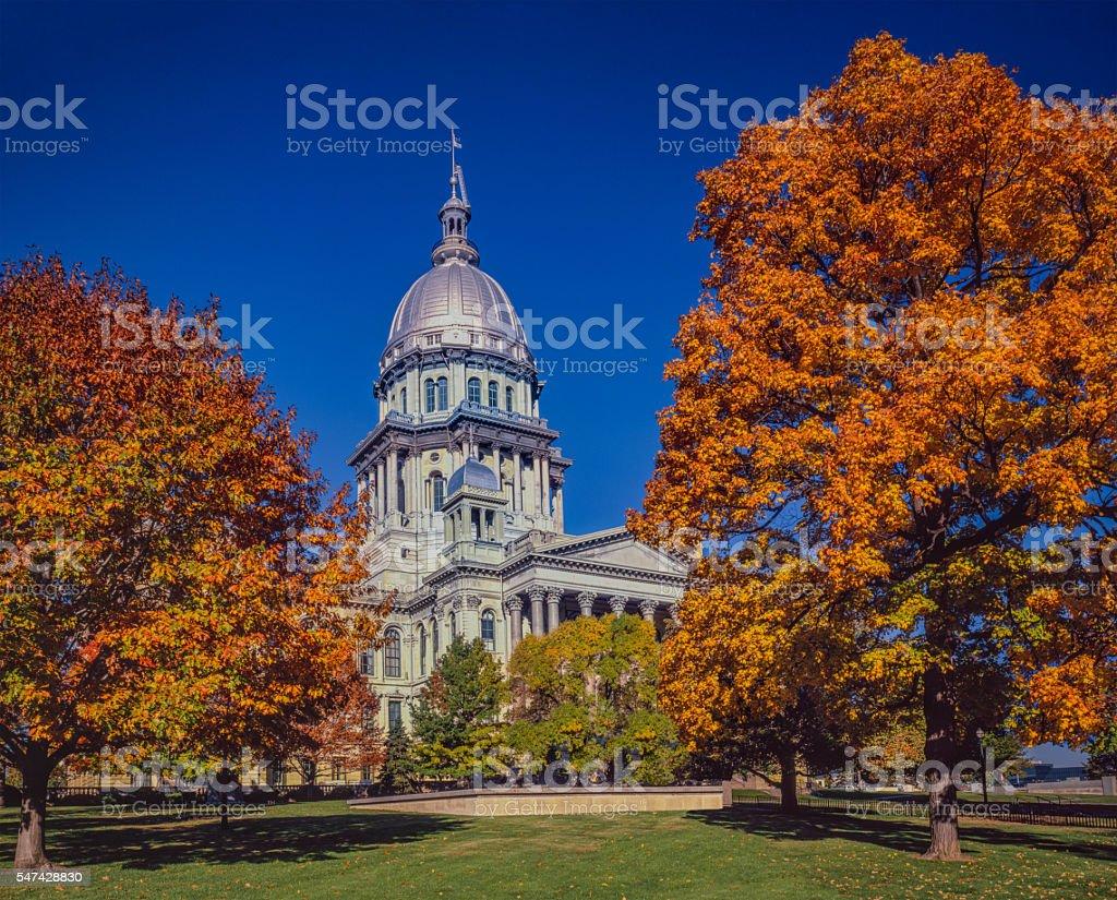 Springfield Illinois Capitol Building with autumn maple trees stock photo