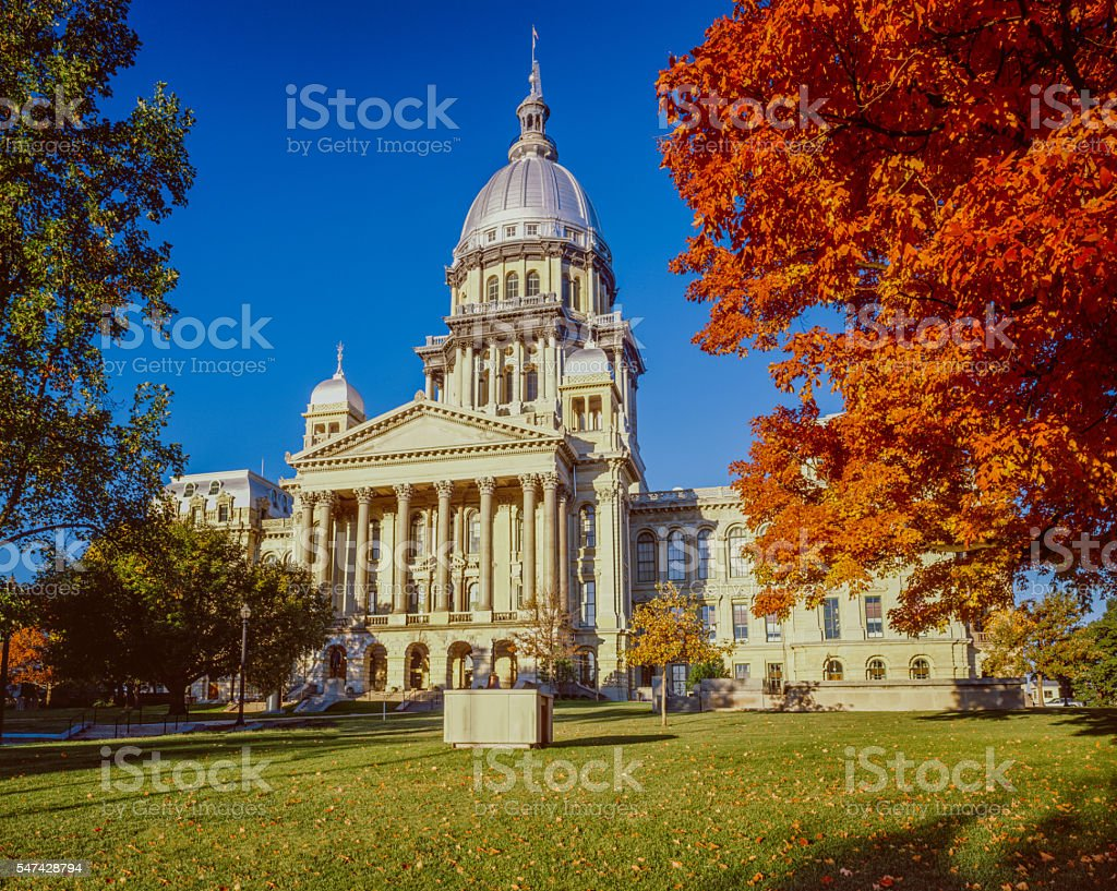 Springfield Illnois Capitol Building with autumn maple trees stock photo