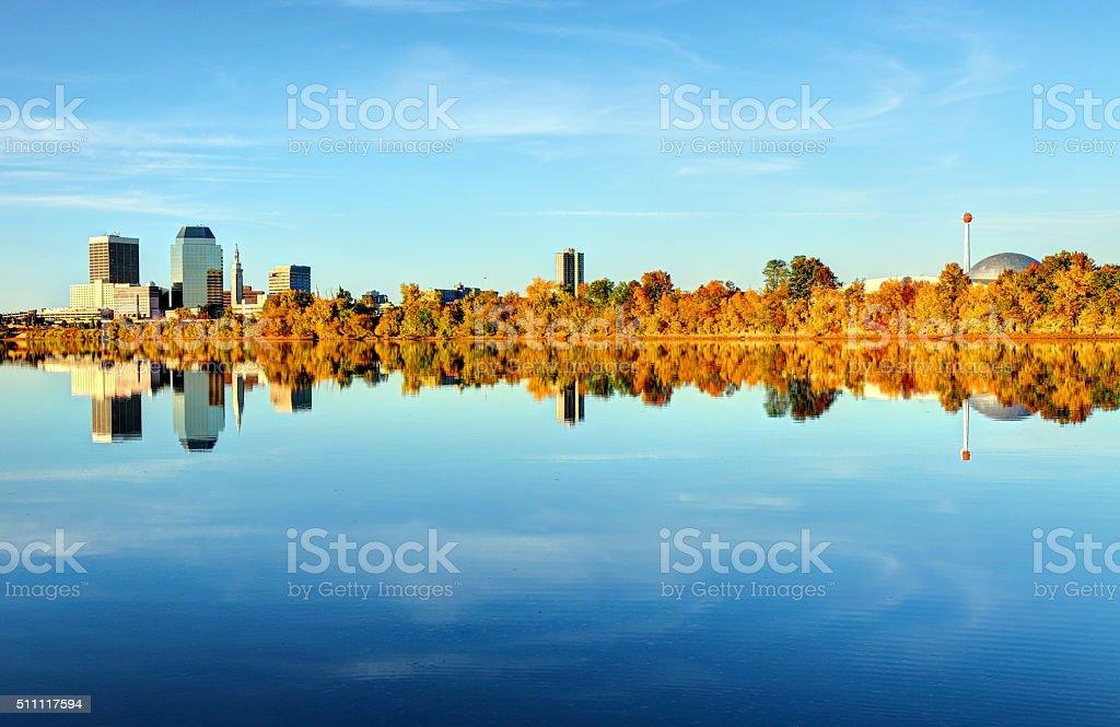 Springfield, Massachusetts Skyline including the Basketball Hall of Fame stock photo