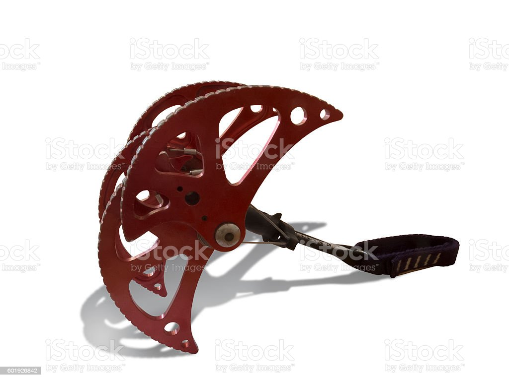 Spring-loaded climbing device. stock photo