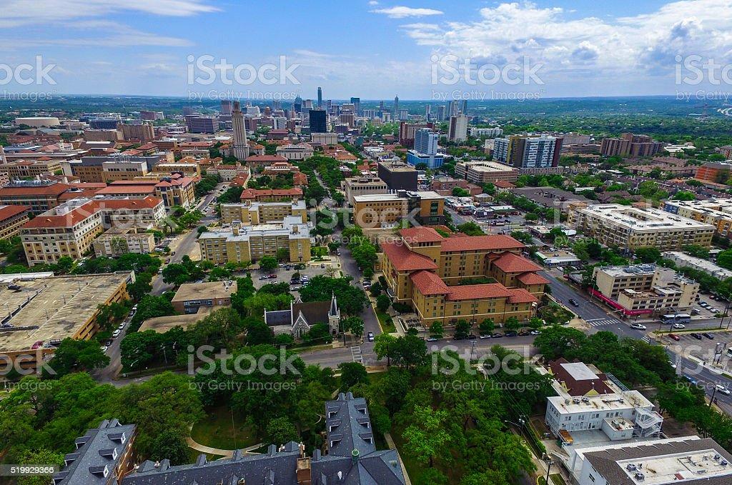 Springtime Austin Over University of Texas UT Tower stock photo