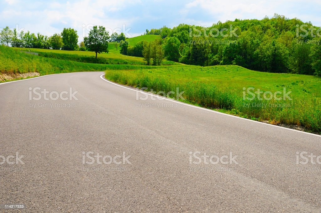 Springtime Country Road Scenic royalty-free stock photo