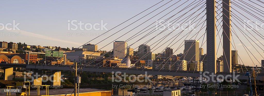 Springtime Dawn Suspension Bridge Highway 509 Downtown Tacoma Washington stock photo