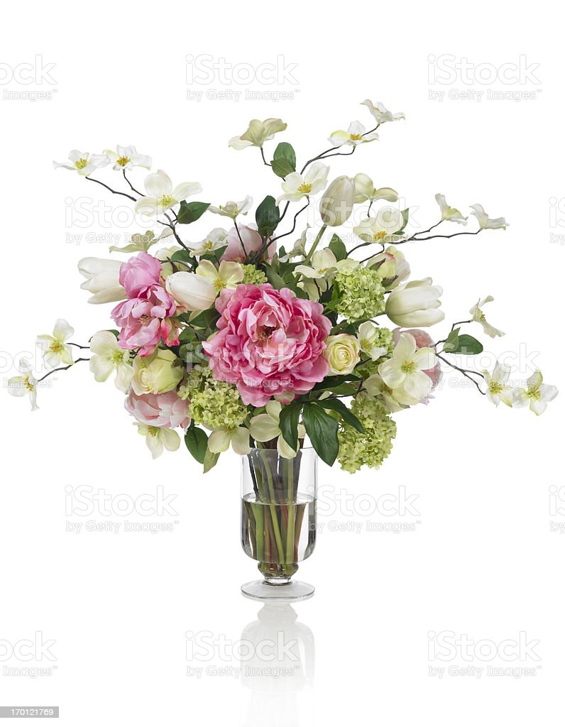 Springtime Dogwood and Peony bouquet on white background stock photo
