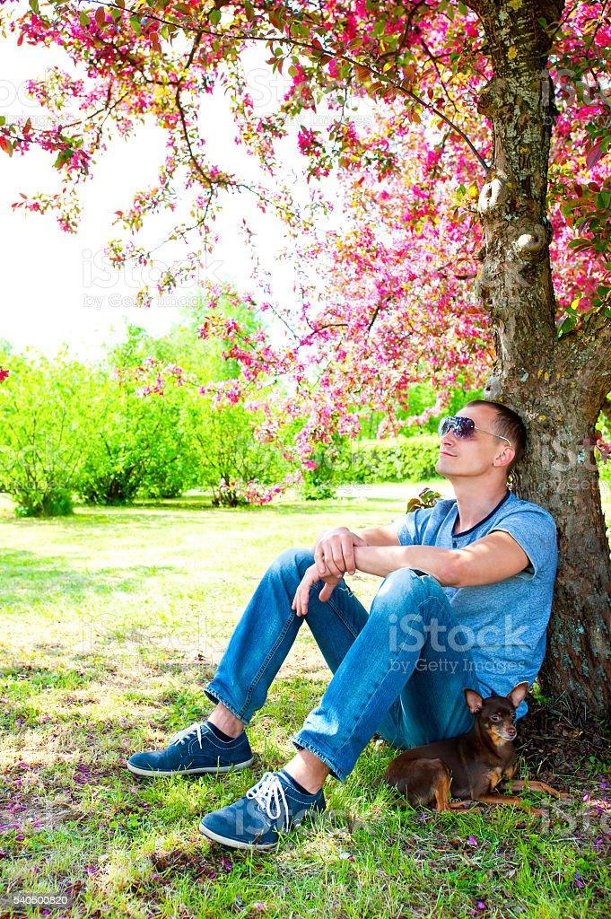 Springtime garden. Resting in shadow. stock photo